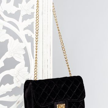 Midelton Quilted Velvet Purse - Black