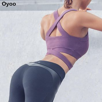 Oyoo Purple Strappy High Impact Sports Bra Sexy Cropped Yoga Tops Black Activewear Contrast Grey Workout Clothes for Women