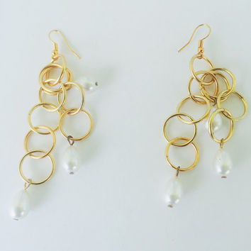 Pearl Earrings,Handmade Chandelier, Earrings,Gold Earrings,Chain earrings,White Earrings,Gift for her,Loop Earrings,Jump ring earrings.