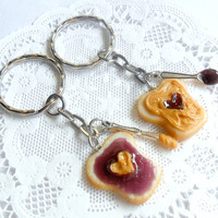 Peanut Butter and Jelly Heart Keychain Set, Grape, With Knife & Spoon, Best Friend's Keychains