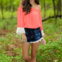 More Than Just Okay Blouse-Neon Coral