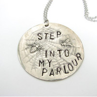spider web & fly necklace - step into my parlor halloween jewelry