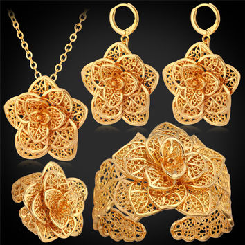 Big Flower Wedding Jewelry Cuff Bracelet Ring Earrings Necklace Set Women Gift Bridal Yellow Gold Plated Jewelry Sets PEHR483