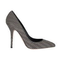 Dolce & Gabbana Black White Zigzag Pony Hair Leather Pumps