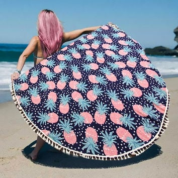 Pink Pineapple Print Wrap Poncho with Tassel Trim multi-way Round Beach Towel Throw