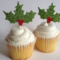Christmas Cupcake Topper Holly Leaves and Berries Green Red Glitter Set of 12 Holidays Handmade Decoration Christmas Decor