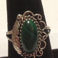 Malachite Sterling Ring Navajo Roy Vandever Silver Size 8.5 Green Stone RV 925 Vintage Native American USA Southwestern Tribal Jewelry Gift