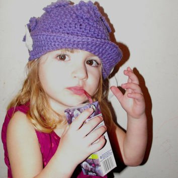 Childrens Sun Hat - Crochet Pattern, poppin flowers toque childs hat, spring hat, basic sun hat, Newsboy hat Visor hat sun shade button kids