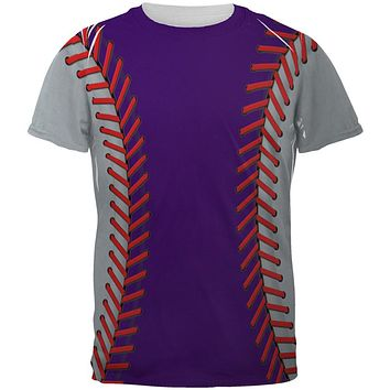 Baseball League Purple and Silver All Over Mens T Shirt