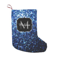 Beautiful Blue sparkles Monogram Small Christmas Stocking