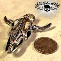Big & Bold Steer w/Horns Pendant (p072stainless)