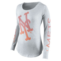Nike Fade Long-Sleeve (MLB Mets) Women's Shirt Size Small (White)