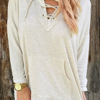 Light Gray Hooded Long Sleeve Lace-Up Pullover Hoodie