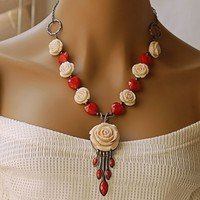 White Rose Heart Necklace