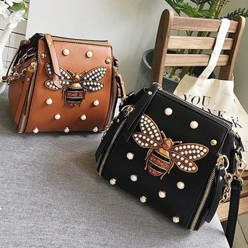 Fashion and drill bee backpack female 2017 summer new rivet multi-bag trend single shoulder cross-body bag