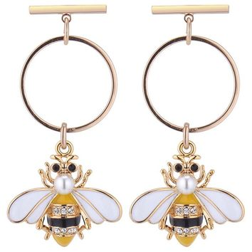 New Fashion Style Hot Colorful Bumble Bee Earrings Fashionable Gold Yellow Color Round Earrings Animal Jewelry For Women Gifts