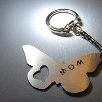 Butterfly Key Chain with Heart Cut Out Handmade from Aluminum