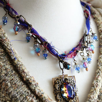 Boho Necklace, Rainbow Glass Stone, Sari Silk Ribbon, Textile Necklace, Purple Necklace