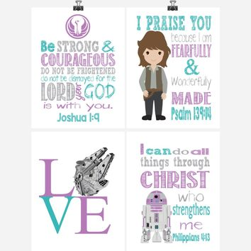 Star Wars Set of 4 - Christian Nursery Decor Wall Art Print - Jyn, R2D2, Love - Bible Verse - Multiple Sizes