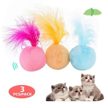 Catnip Cat Toys Cats Plush Ball Sound Feather Toys Pet Supplies Kitten Interative Cat Play Funny Toy 3pc/pack