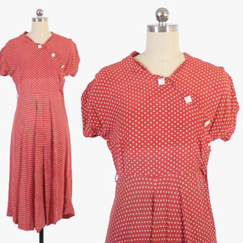 Vintage 40s Day DRESS / 1940s Dusty Red Rayon Polka Dot Swing Dress S