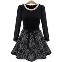 Winter Long Sleeve Midi Skater Dress