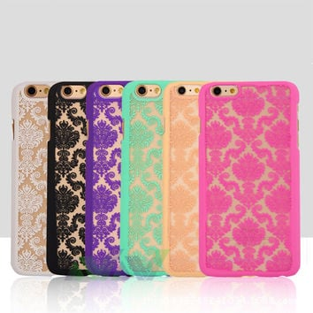 Slim PC Phone Classical Covers Vintage Lace Floral Back Case for iPhone 5 / 5s / 6 / 6s / 6Plus / 6sPlus New Sale