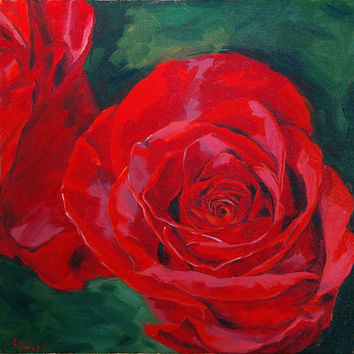 Red Rose Painting, Flower Painting, Original Oil Painting, 16 x 16, Framed
