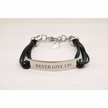 Genuine Leather ID Bracelet with Crystals from Swarovski - NEVER GIVE UP