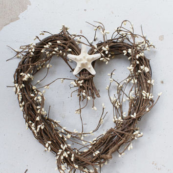 Heart wreath - wedding wreath - Valentines Day - rustic decor - coastal decor - country wedding - beach wreath