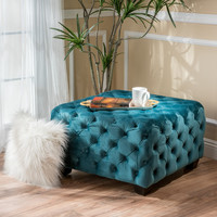 Folks & Future and the Pied Piper Tufted Velvet Fabric Square Ottoman Bench