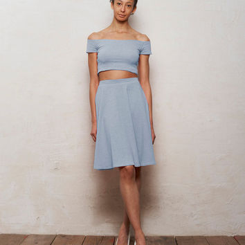 Mix n Match Coco Crop Top and Skater Skirt Set in Pastel Blue