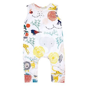 Summer Baby Unisex Fashion Sleeveless Round Collar Romper Cartoon Animal Plants Printing Cute Jumpsuit Outfits