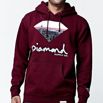 Diamond Supply Co Cityscape Pullover Hoodie - Mens Hoodie - Maroon
