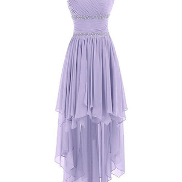 HIgh Low Lavender Chiffon Sweetheart Homecoming Dress