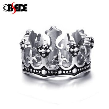 OBSEDE New Crown Ring with Crystal for Women Men Stainless Steel Ring Couple Cool Biker Jewelry Cool Vintage King Queen Dropship