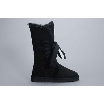 LFMON UGG 1005818 Tall Lace-Up Women Fashion Casual Wool Winter Snow Boots Black