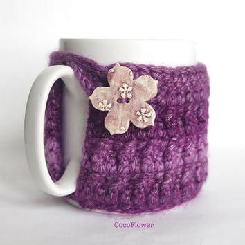 Cozy Mug Coffee Purple color Flower Artisanal Ceramic button Sweater Tea Sleeve Cover Crochet Wool Ooak
