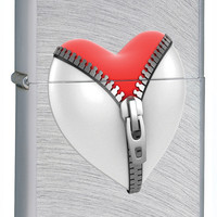 Zippo Zip Heart Chrome Arch Lighter