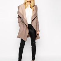 Oasis | Oasis Long Two Tone Drape Coat at ASOS