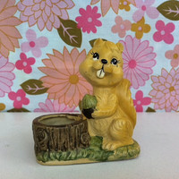 Kitsch, squirrel plaster figurine!! Retro, cheeky, squirrel with nut planter/posy vase!