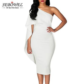 SEBOWEL 2017 White Bodycon Midi Dress Ruffles One Shoulder Elegant Short Party Dress Women Summer Bandage Dress Vestido De Festa