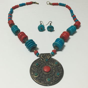 Kyerewaa handmade African trade bead necklace with matching earrings