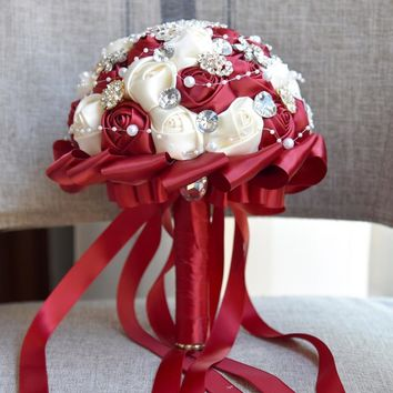 Newest Dark Red & Cream Wedding Bouquet Rose Bride Bouquet Artificial Flowers Bouquets Diamond Crystal Marriage