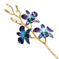Lacquer Dipped 24k Gold Trimmed Purple and Blue Orchid Stem