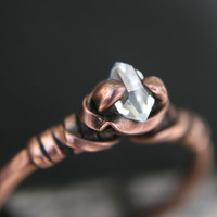 Micro Crystal Dazzler Ring, artisan, Tibetan crystal, handfasting, herkimer ring, avant garde,diamond alternative,wedding