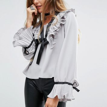 Navy London Long Sleeve Blouse With Ruffle Collar And Tie Neck Detial