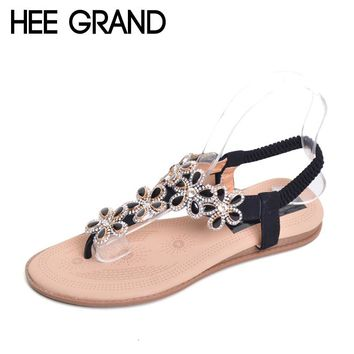HEE GRAND Bohemia Flip Flops 2017 Casual Gladiator Sandals Slip On Flats Bling Platform Flats Shoes Woman Size 35-41 XWZ3652