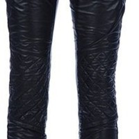 Joseph Leather Trouser in Black