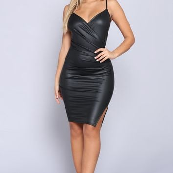 Hit List Leather Dress - Black